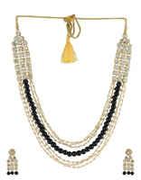 Necklace Black Beads Beaded Jewellery Set