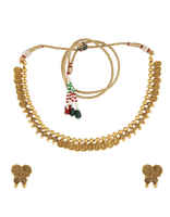 Gold Finish Designer Ethnic Wear Very Classy Studded With Stones Imitation Jewellery Necklace