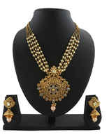 Gold Tone Artificial Pendant With Pearl Chain Studded With Stones Pendant Earring Set