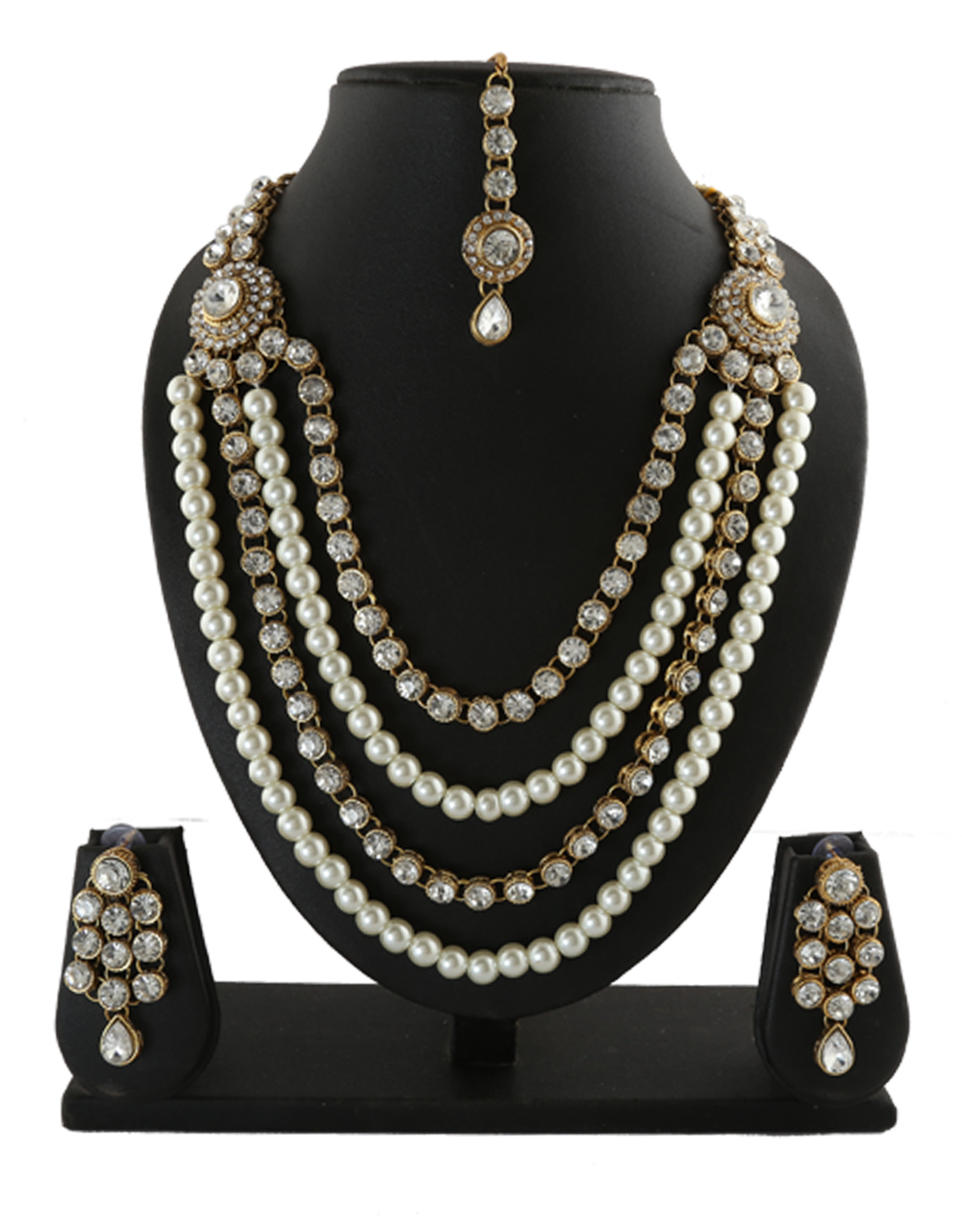 Gold Finish Fashionable Traditional Layered Necklace Set Studded With Stones And Pearl Necklace Earring Set