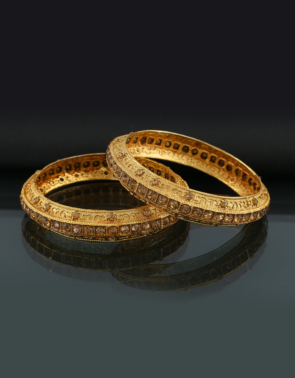 Gold Tone Bangles Design Studded With Stones Fancy Bangles