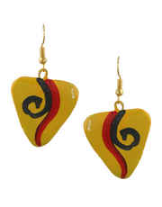 Yellow Colour Styled With Thred Design Printed Design Latest Terracotta Jewellery