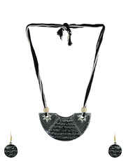 Black Colour Neklace Has Sanskrit Shlok Terracotta Necklace