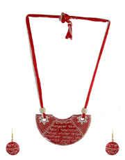 Red Colour Very Classy Designer Styled With Ramayan Sanskrit Shlok Terracotta Fashion Jewellery