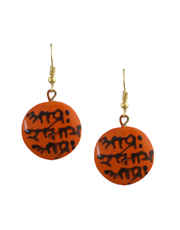 Orange Colour Terracotta Necklace Set Styled With Printed Shok Of Ramayana Terracotta Clay Necklace