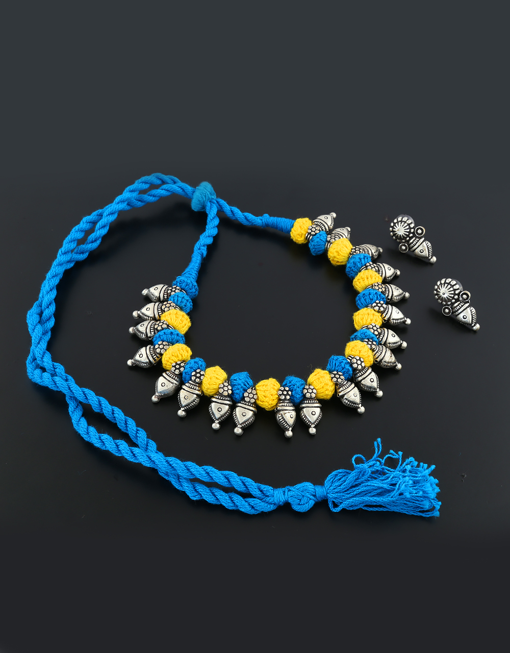 Colored Silver Finish Oxidised Necklace Styled With Thread Silver Tribal Necklace