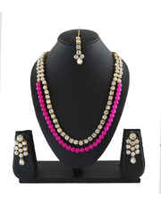 Adorable Pink Colour Stylish Necklace Studded With Stones Beaded Jewelry