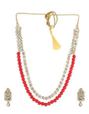 Red Colour Elegant Beads Mala Styled With Sparkling Stones Wedding Party Beads Necklace