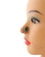 Drop Shape Green Colour Designer Oxidized Nose Stud
