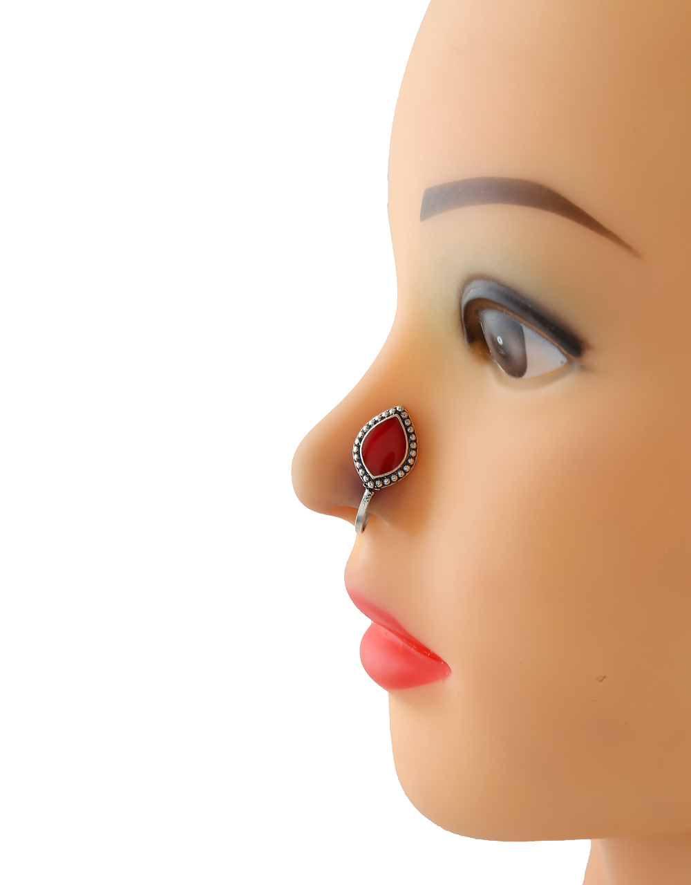 Red Colour Silver Tone Beautiful Oxidised Nose Stud
