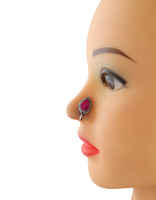 Pink Colour Droplet Shape Oxidised Finish Nose Stud Pin