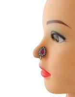 Oxidised Tone Floral Design Pink Colour Nose Stud