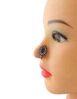 Blue Colour Floral Design Oxidized Nose Ring