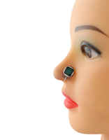 Round Shape Green Colour Oxidized Tone Nose Stud Pin