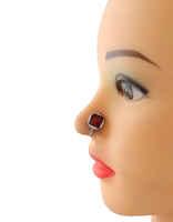 Red Colour Silver Finish Pretty Silver Nose Stud