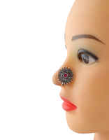 OxidIzed Finish Floral Pink Colour Silver Nose Ring