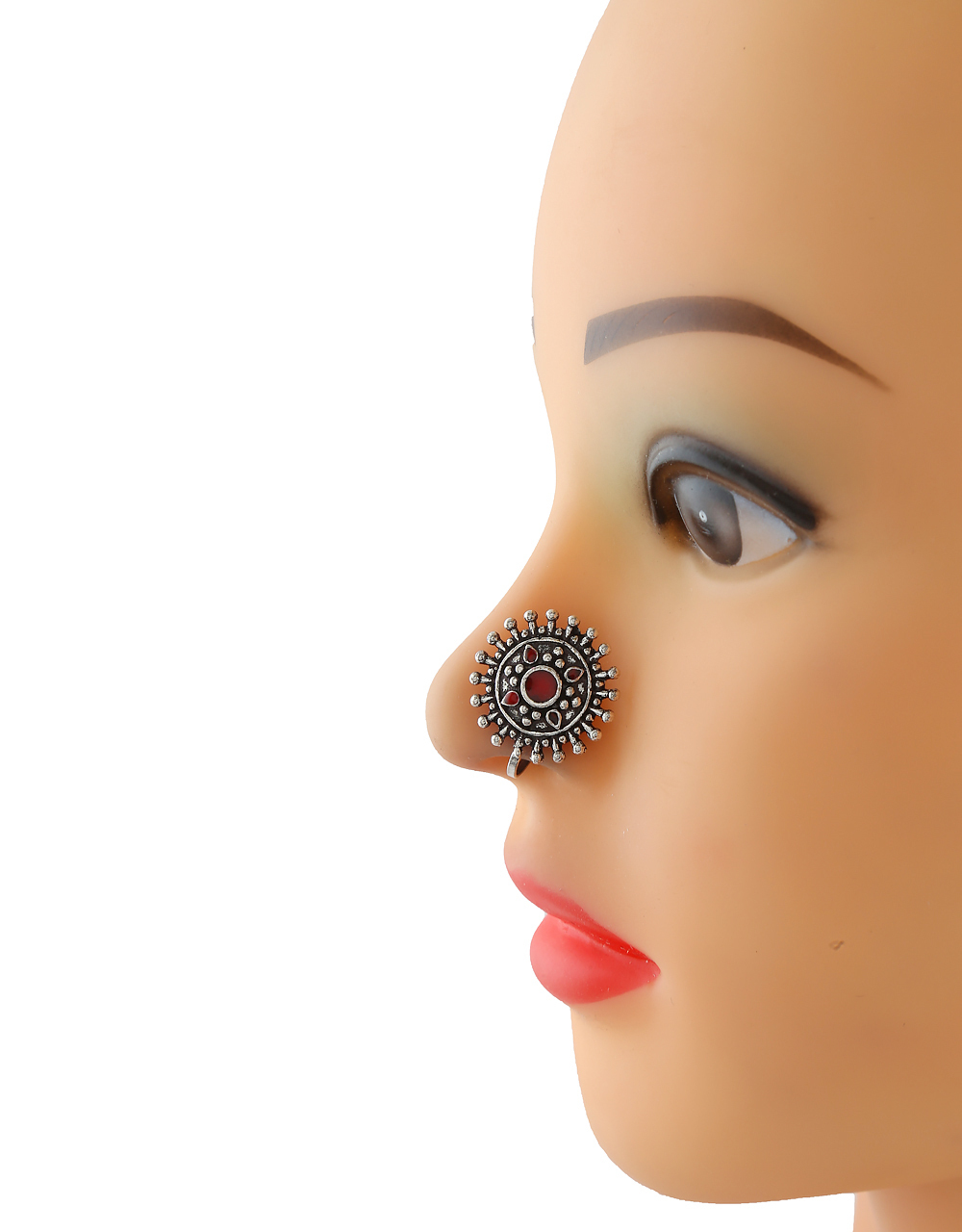 Red Colour Oxidised Finish Clip On Nose Stud