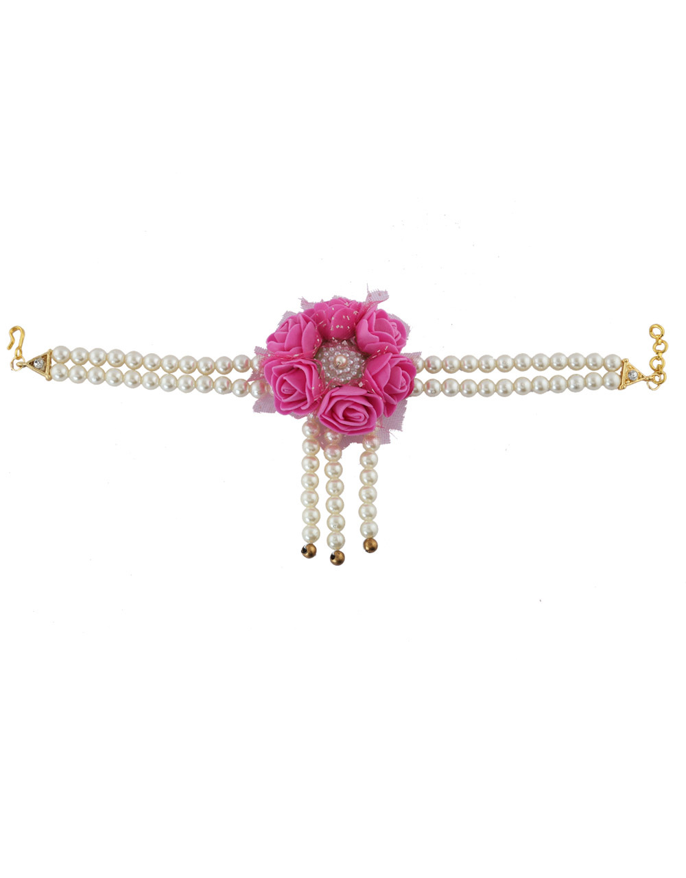 Pink Colour Handmade Jewelry Styled With Pearl Beads Flower Jewellery For Bride