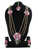 Pink Colour Adorable Dohale Jevan Flower Jewelry Styled With Pearls Flower Jewellery For Wedding