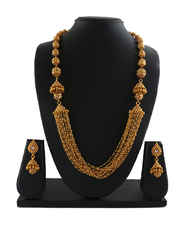 Gold Finish Adorable Layered Necklace Long Beaded Necklace