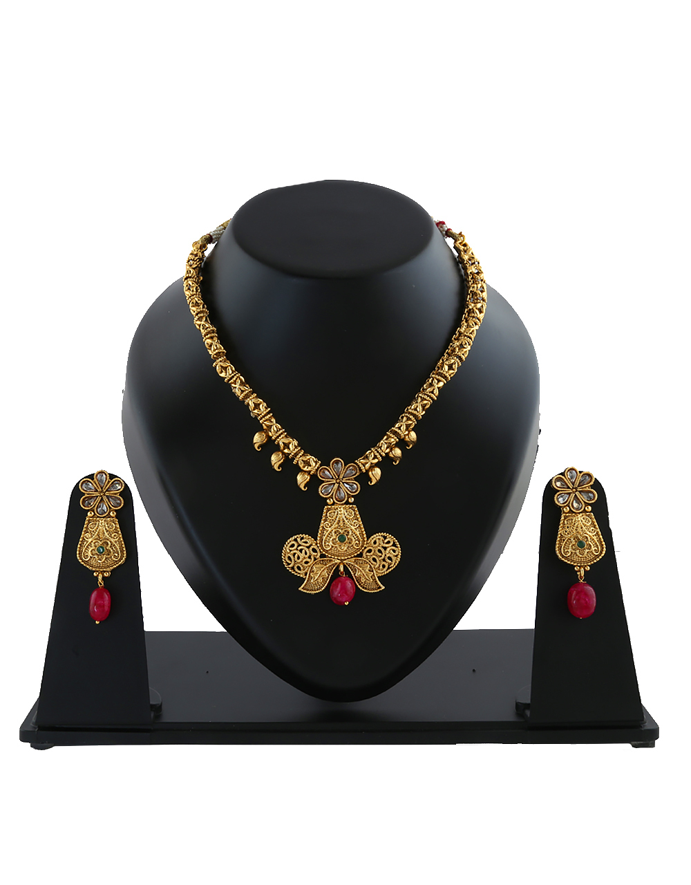 Gold Tone Very Classy Floral Artificial Jewellery Set