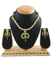 Green Colour Styled With Kundan And Mina Work Stylish Designer Necklace