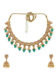 Green Colour Fashionable Bridal Necklace Set Studded With Stones Fashion Jewelry