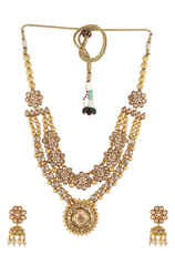 Gold Finish Heavy Necklace Set Styled With Stones Latest Haram Designs