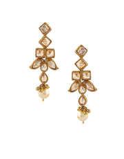 Antique Gold Finish Stylish Necklace Studded With Stones Jewellery Set