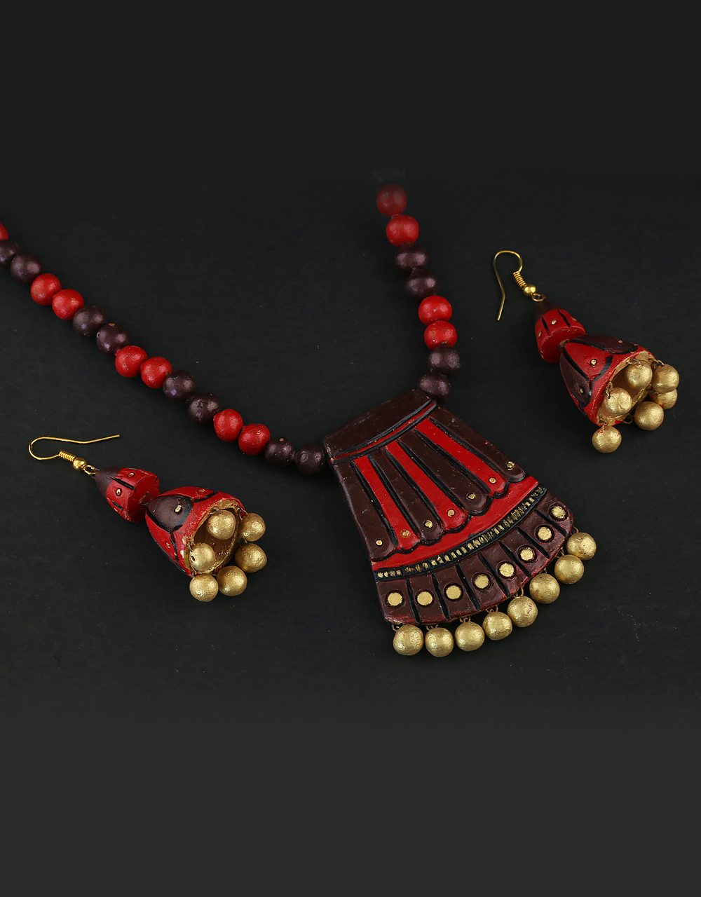 Brown-Red Colour Very Classy Designer Clay Terracotta Necklace