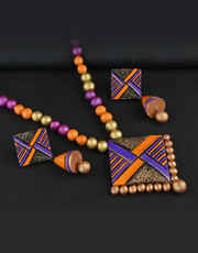 Multi Colour Terracotta Jewellery Set Styled With Beads Hand Made Necklace