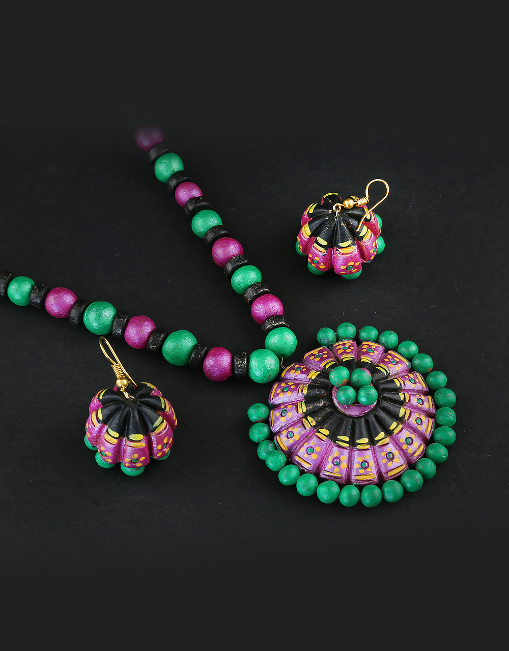 Purple-Green Colour Adorable Terracotta Fashion Jewellery For Girls