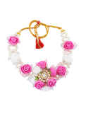 Pink Colour Flower Jewellery Styled With Pearls Haldi Ceremony Jewellery