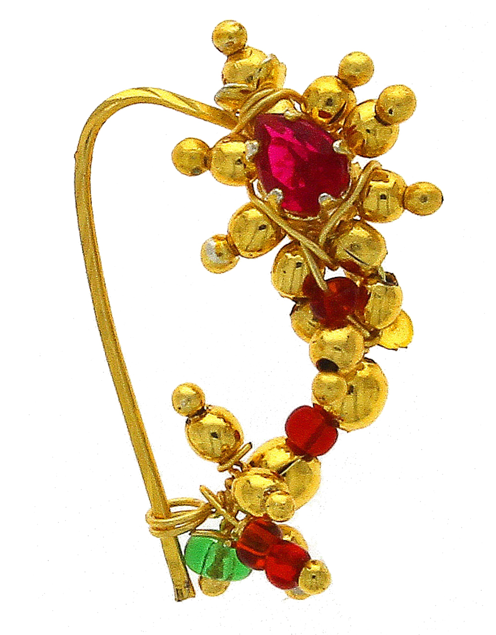Gold Tone Traditional Nath Styled With Beads Maharashtrian Nose Ring
