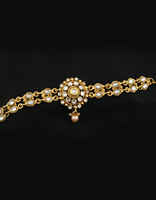 Gold Finish Floral Design Bajuband Studded With Stones Bajuband Jewellery