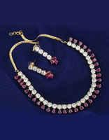 Gold Tone Pink Colour Very Classy Designer Simple Diamond Jewellery