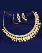 Antique Gold Finish Styled With Kundan And American Diamonds Necklace Earring Set