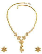 Floral Design Peach Colour Diamond Necklace Studded With Diamonds Wedding Necklace