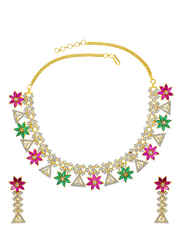 Multi Colour Party Wear Diamond Necklace Styled With Rani-Green Colour Diamonds Gold Necklace