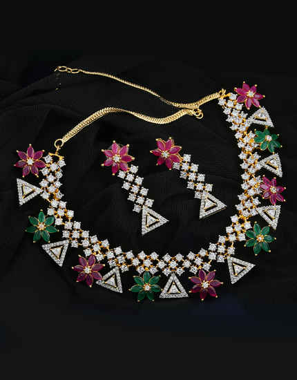 4d01dd9da2 Multi Colour Party Wear Diamond Necklace Styled With Rani-Green Colour  Diamonds Gold Necklace