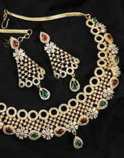 Havy Stylish Diamond Necklace Studded With American Diamonds Pretty Necklace