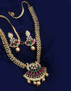Multi Colour Long Necklace Studded With American Diamond Necklace For Wedding