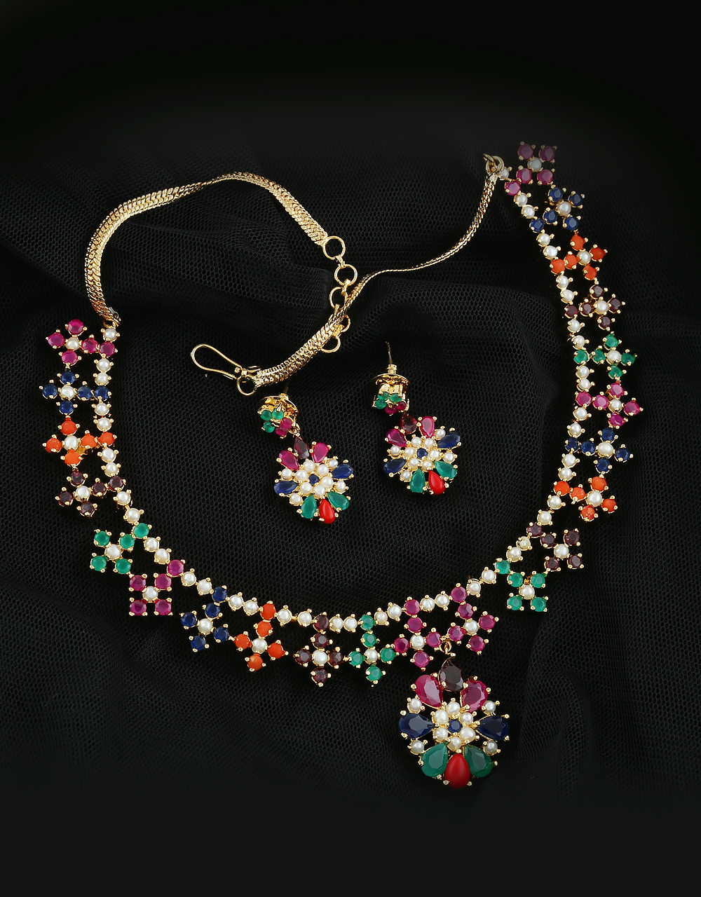 Floral Multi Colour Diamond Necklace Styled With American Ruby Stones Pearl Diamond Necklace