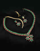 Rani-Green Combination Gold Finish Adorable Necklace Set Styled With Ruby Stones Designer Necklace