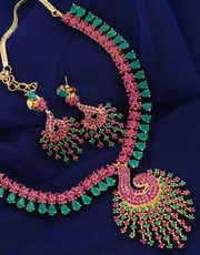 Peacock Design Gold Finish Stylish Necklace Studded With Ruby Stones Necklace