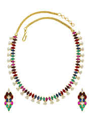 Multi Colored Gold Finish Fancy Necklace Styled With Pearl Beads Pearl Necklace Set