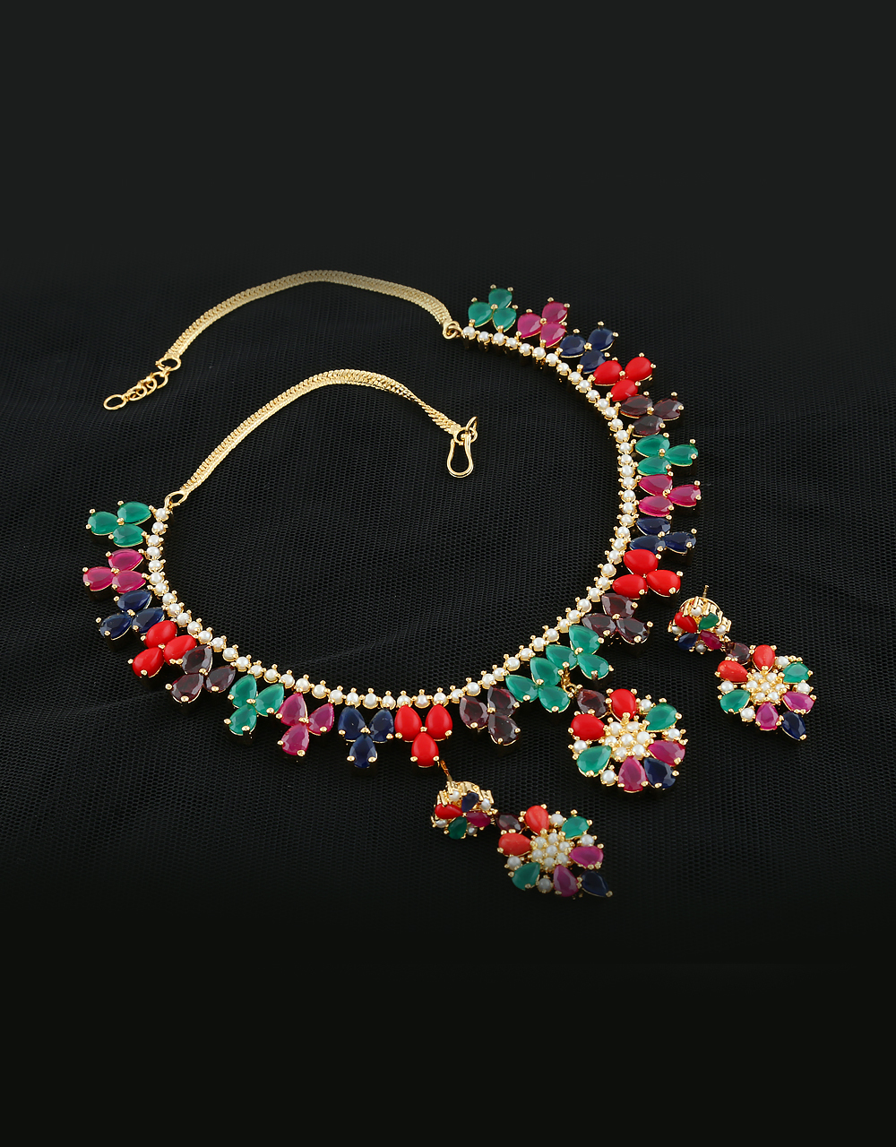 Flower Multi Colored Gold Tone Wedding Necklace Styled With Ruby Diamonds Latest Necklace