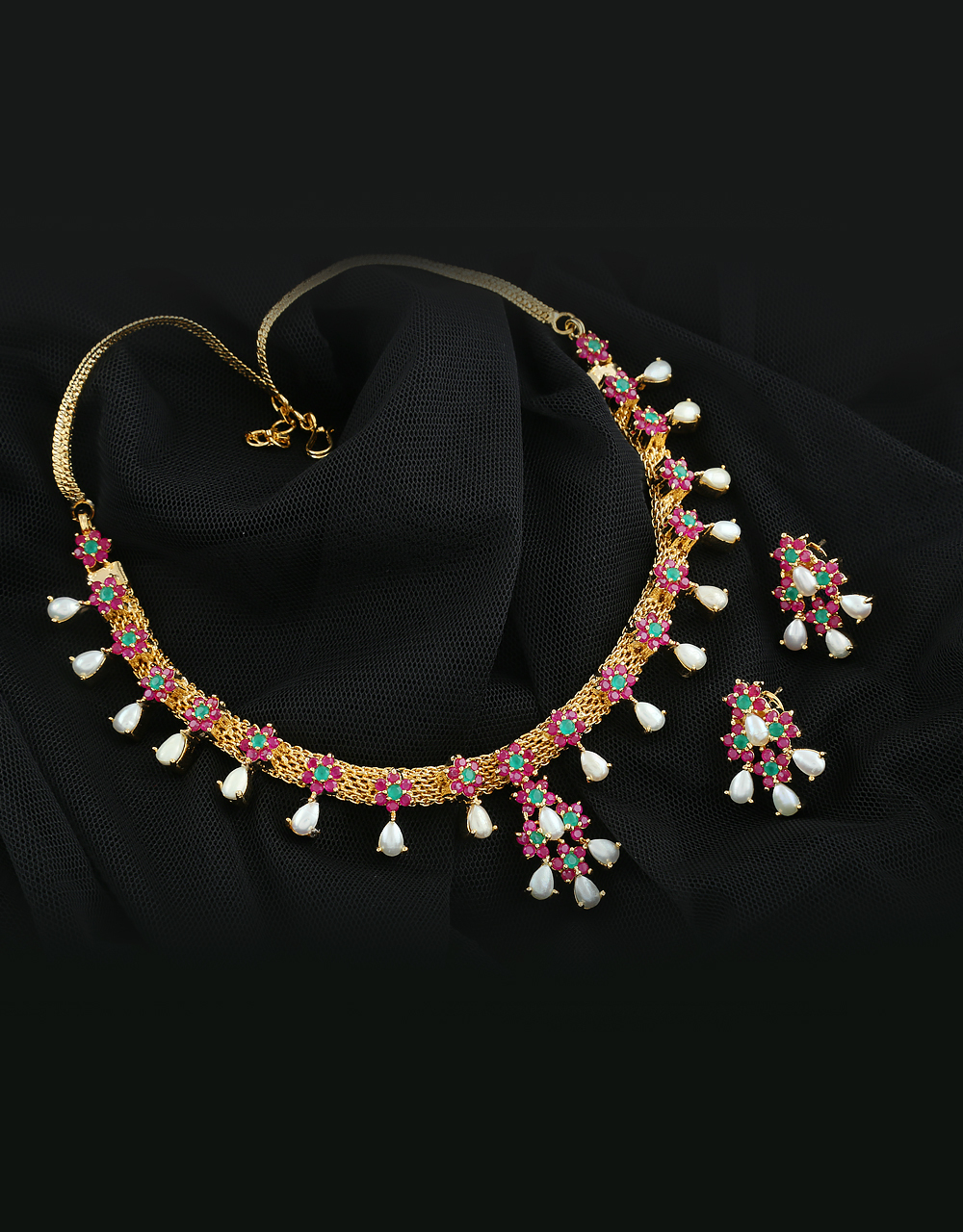 Gold Tone Floral Design Rani-Green Combination With Hanging Pearls Drop Necklace