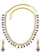 Gold Finish Rani-Green Colored Diamond Necklace Studded With Stones Diamond Jewellery