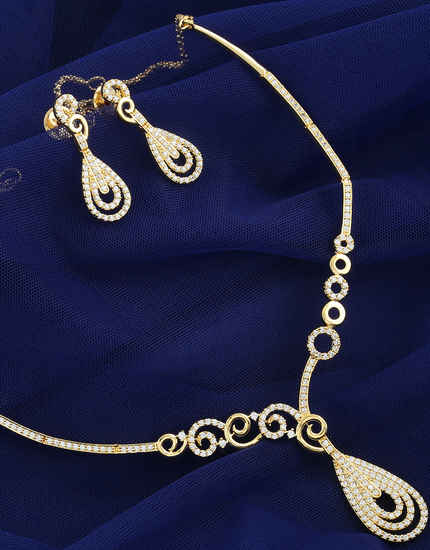 c10224304 Gold Tone Exclusive Diamond Necklace Studded With American Diamonds Simple Jewellery  Set